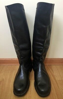 Russian Officer Boots Boxcalf Chrome 42USSR Calfskin Leather Riding Military NOS