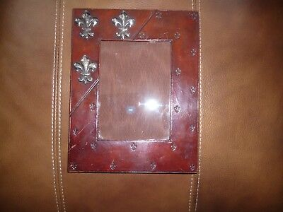 Arts And Crafts Leather And Pewter Picture Frame