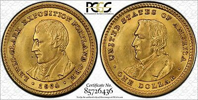 1904 Lewis and Clark Gold Commemorative Dollar PCGS MS62 Low Mintage of 10,025