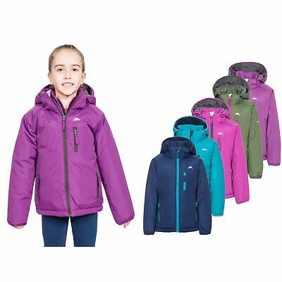 Trespass Shasta Girls Waterproof Jacket Windproof Raincoat Green Purple