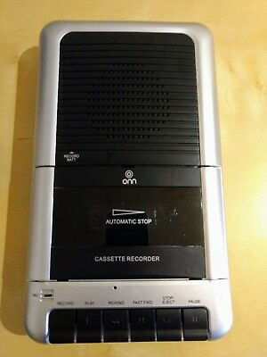 Portable Onn Cassette Tape Recorder Mcr-976 One Touch Recording W/ Player