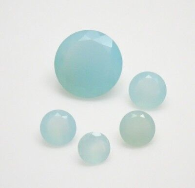25.0CTW Mixed Parcel Blue Chalcedony - Round Mixed MM Chalcedony Gemstones