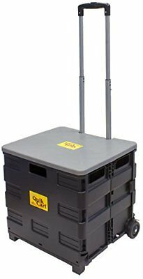 Quik Cart Two-Wheeled Collapsible Handcart with Grey Lid Rolling Utility Cart