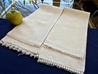 2 Antique Huck Irish Damask Linen Bath 20x32 Towels Variety Tatted Lace Shamrock