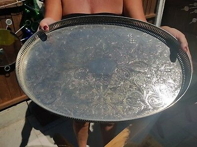 Beautiful Vintage Silver Plated On Copper Gallery Tray On Clawed Legs.sheffield.