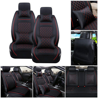 US 5-Seats Car SUV PU Leather Seat Cover Black&Red Front+Rear Cushions w/Pillows