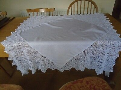 Vintage Irish Linen Tablecloth - Wide Hand Crochet Cotton Lace Border