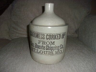 Antique White 1 Gal Pottery Stoneware Whisky Jug Goodness Corked Up Geo Buente