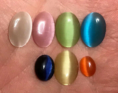 7 x Katzenauge/Oval - Multi Color  16,70 Ct  Sri Lanka
