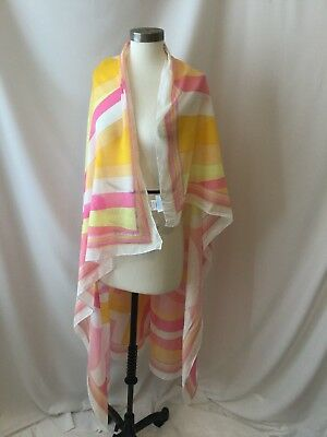 Emilio Pucci Cotton Pastel Pinks Orange Yellow Rare Scarf Wrap
