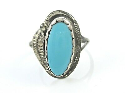 Vintage Oval Blue Turquoise Sterling Silver Ring 9