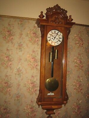 Antique 2 Weight Gustav Becker Wall Clock