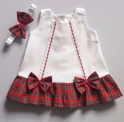 Baby Girl Dress + headband White Red Tartan  ** Dispatch Next Day **