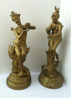 """Pair of Antique Spelter Figurine Lamp Bases. Both signed on base 10½"""" high"""