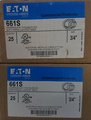 """NEW LOT of 50 Eaton Crouse Hinds 661S ¾"""" COMPRESSION FITTING EMT STEEL COUPLING"""