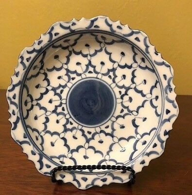 Asian Style Porcelain Blue and White Bowl with Scalloped Edge / Hand Painted