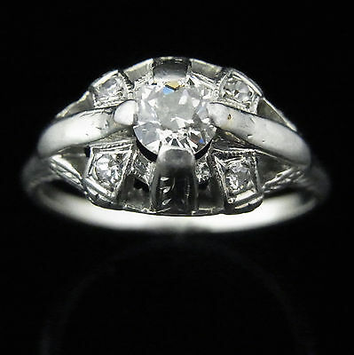 Art Deco Engagement Ring Old European Cut Diamond 14k White Gold Antique c.1920s