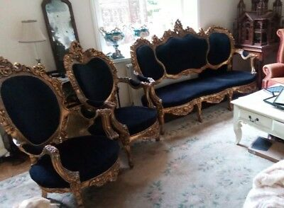 Gold/gilt Sofa And Chairs