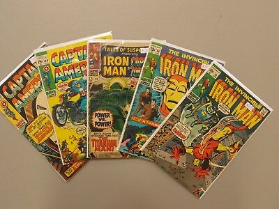 Silver Age Marvel Comics Lot Iron Man Captain America Tales Of Suspense 5 Books