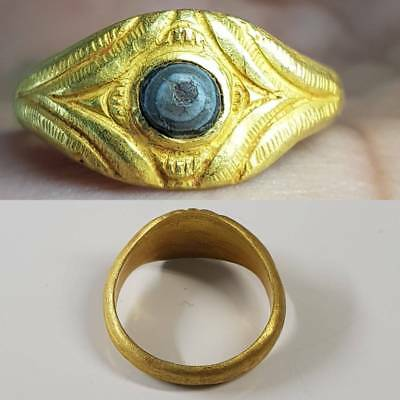 ROMAN OLD 22K GOLD RING ANCIENT AGATE STONE     # 1z