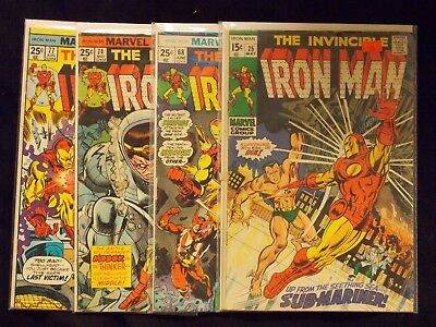 Silver Age/Bronze Age Iron Man Comic Lot # 25 68 74 77