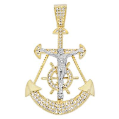 Gold and Cubic Zirconia Mariner's Anchor Cross with Jesus - 10 Karat Solid Gold