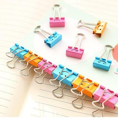 40Pcs Cute Smile Binder Clips For Home Office Books File Paper Organizer Metal P