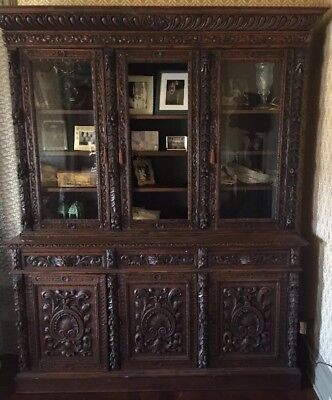 Large Antique Carved French Renaissance Style 6 Door Bookcase / Hunt Cabinet