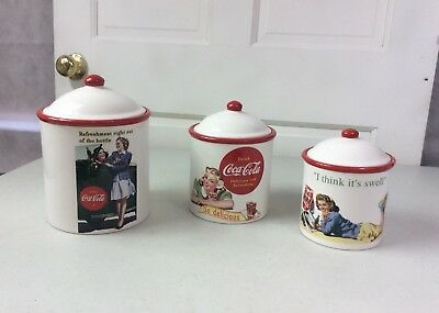 COCA COLA Canisters Set of 3 Collectible Ceramic Jars with Lids