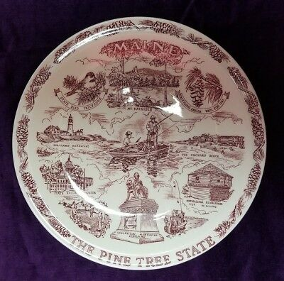 "Beautiful and Unique, Vintage 10"" State of Maine souvenir plate in red."