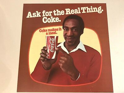 Rare 1970's Bill Cosby Coca-Cola Advertising Ask For The Real Thing Poster 17X17