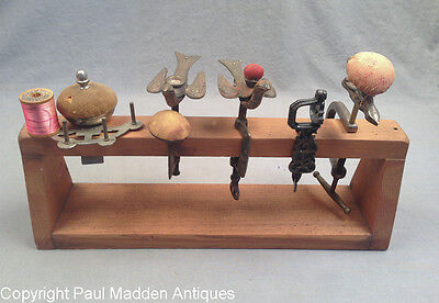 Collection of 5 Antique Sewing Clamps on Stand