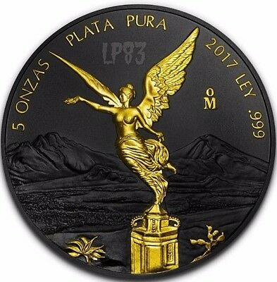 2017 5 Oz Silver MEXICAN LIBERTAD Ruthenium Coin WITH 24K GOLD GILDED.