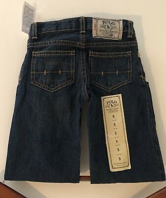 Boys Navy Blue Cotton Straight Jeans from POLO by Ralph Lauren Size 5
