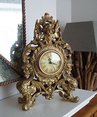Ornate Gold Mantle Clock with Cherub Detail French Vintage style NEW