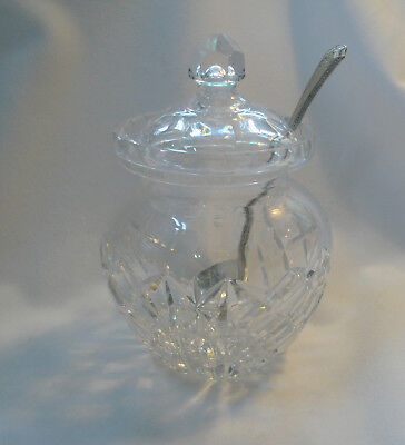 Cut Glass, Jelly Jar, Jam Jar, Spoon Included, Clear Glass,  Small Dish & Spoon