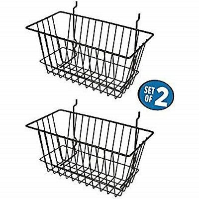 """Black Wire Baskets for Slatwall, Gridwall and Pegboard 12"""" x 6"""" x 6"""" (Set of 2)"""