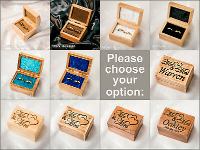 Personalised Mr and Mrs Wooden Double Wedding Ring Box for Ceremony Date Surname