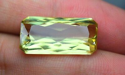 12 CRT Fluorescent transparent Kunzite mineral huge Emerald cut gemstone @AFG