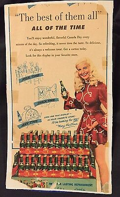 """Canada Dry & Mary Hartline """"Best Of Them All"""", Ad Autographed To Buyer"""