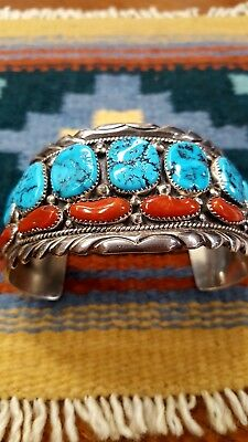 Vintage Navajo Sterling Silver Kingman Turquoise and Red Coral Cuff Bracelet
