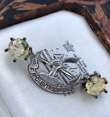 Antique Vintage Sterling Silver Citrine Matheson Scottish Clan Brooch /pin