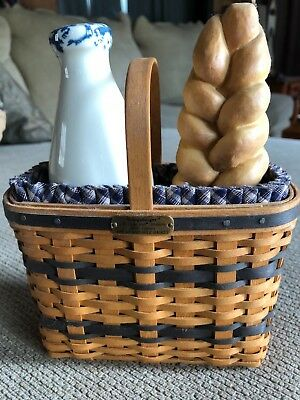 Longaberger J.W. Minature Bread and Milk Basket w/Liner & Protector