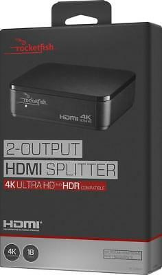 Rocketfish - 2-Output HDMI Splitter with 4K and HDR Pass-Through - Black