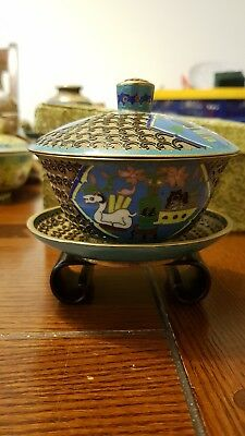 Superb collector's piece antique vintage Cloisonne teabowl with stand