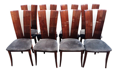 SET of 8 Mid-Century MODERN Italian Art Deco Style ROSEWOOD DINING CHAIRS
