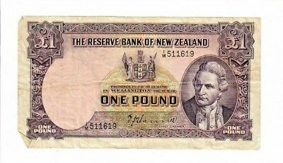 RESERVE BANK OF NEW ZEALAND 1 POUND BANK NOTE 1940-55    P-159a