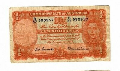 Australia 1952 Coombs Wilson 10 Shilling Note    P 25d