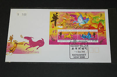 Christmas Island 2003 Year Of The Goat M/sheet On  Cover Mint Cond