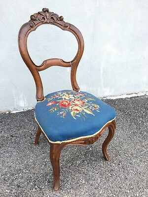 Victorian Parlor Chair With Blue Needlepoint. 1880s